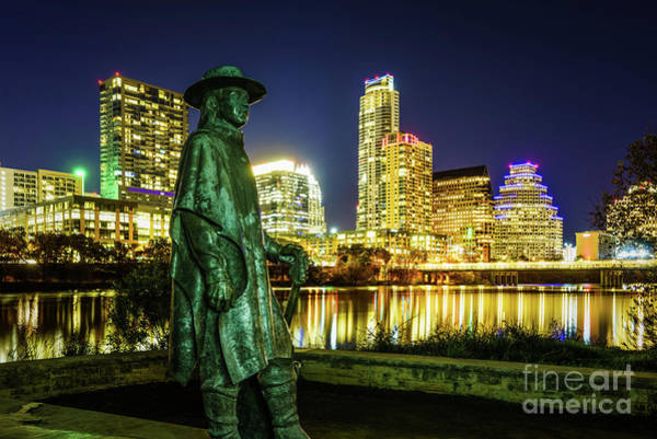 Wall Art - Photograph - Stevie Ray Vaughan Statue With Austin Tx Skyline by Paul Velgos