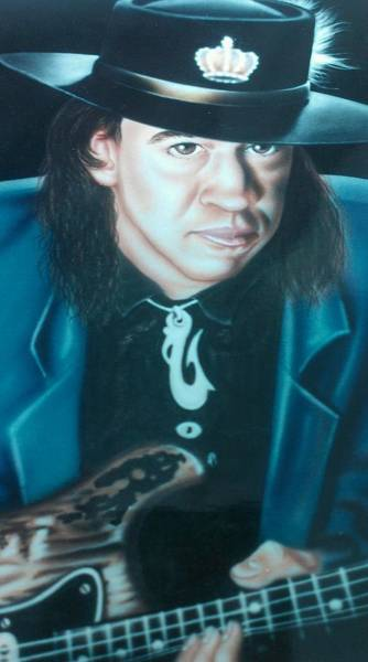 Painting - Stevie Ray Vaughn by Darren Robinson