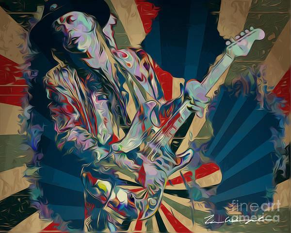 Digital Art - Stevie Ray Vaughn by Tim Wemple