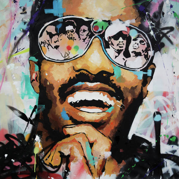 Piano Keyboard Wall Art - Painting - Stevie Wonder Portrait by Richard Day