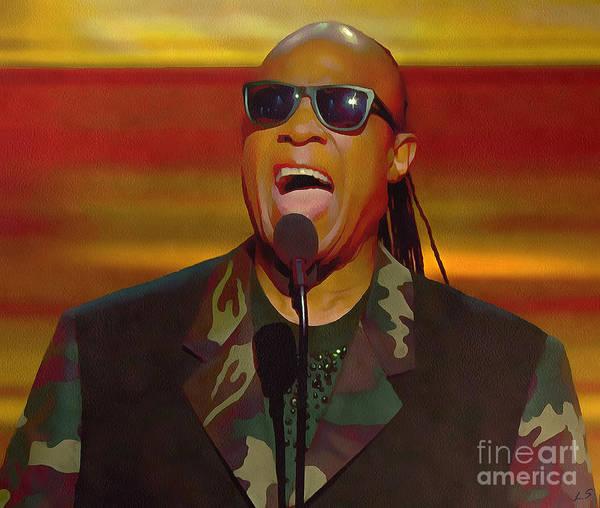 Jazz-funk Painting - Stevie Wonder Collection - 1 by Sergey Lukashin