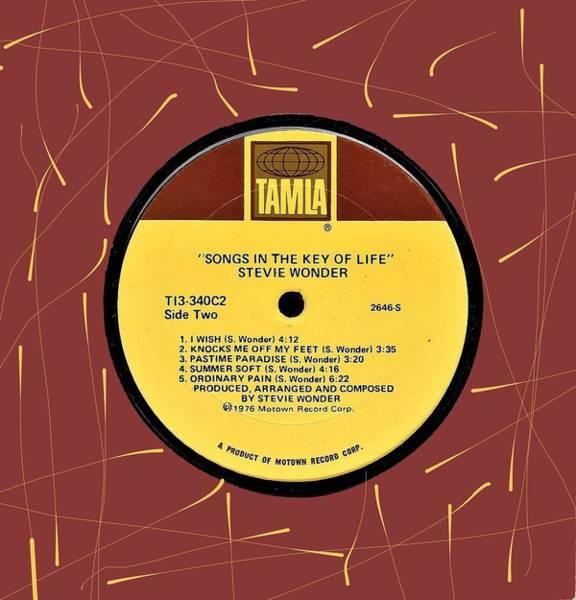 Wall Art - Digital Art - Stevie Wonder Songs In The Key Of Life Lp Label by Doug Siegel