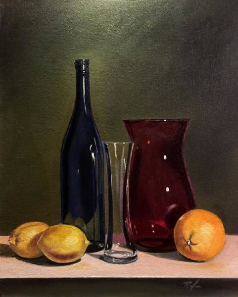 Still Life With Bottle, Vases And Fruit Art Print