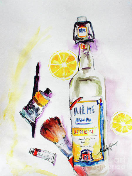 Painting - Still Life Bottle Brushes Paint Tubes Watercolor by Ginette Callaway