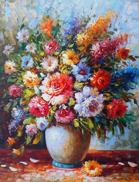 Painting - Still Life Colourful Flowers In Bloom by Joy of Life Art Gallery