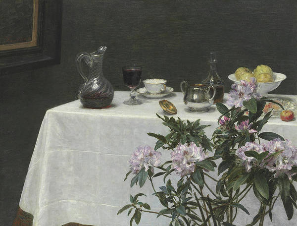 Tablecloth Painting - Still Life Corner Of A Table by Ignace Henri Jean Fantin-Latour