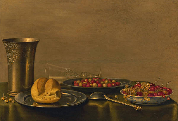 Bread And Wine Painting - Still Life by Floris van Schooten