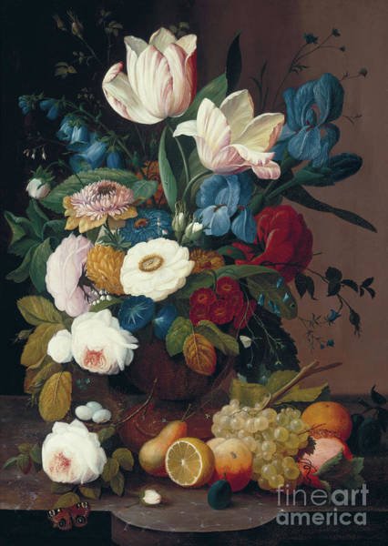 Wall Art - Painting - Still Life, Flowers And Fruit, 1848  by Severin Roesen