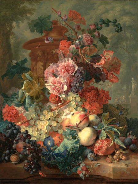 Painting - Still Life Fls Owerwith Fruit by Celestial Images