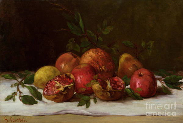 Pomegranates Painting - Still Life by Gustave Courbet
