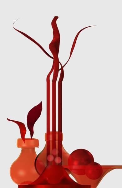 Digital Art - Still Life In Red by Alberto RuiZ