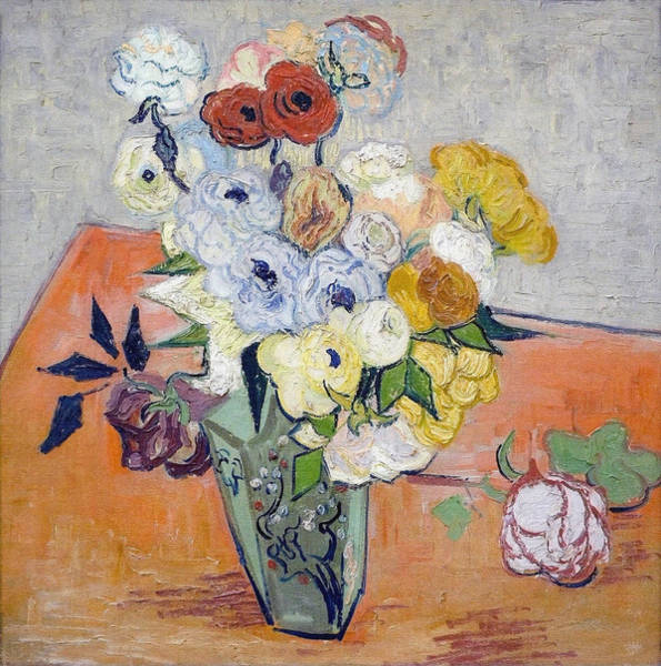 Wall Art - Painting - Still Life - Japanese Vase With Roses And Anemones, 1890 by Vincent Van Gogh