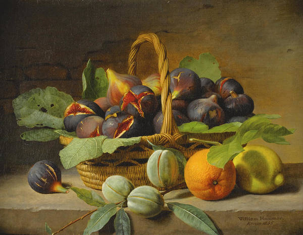 Wall Art - Painting - Still Life Of Figs In A Basket And Fruit On A Ledge by William Hammer