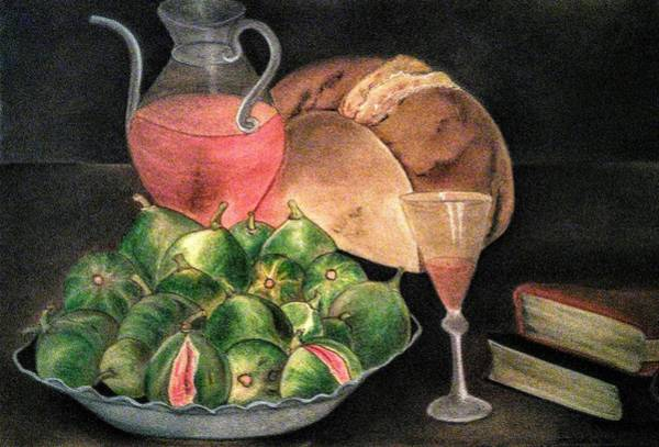 Pastel - Still Life Of Figs, Wine, Bread And Books by Alma Bella Solis