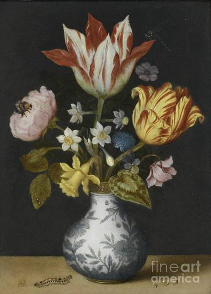 Liver Painting - Still Life Of Flowers In A Wan-li Vase by MotionAge Designs