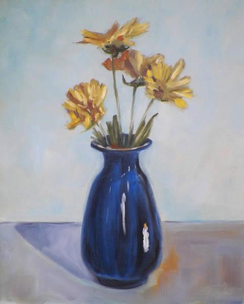 Still Life Of Flowers In Blue Vase Art Print