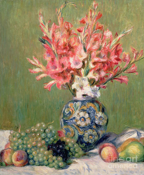 Gladiolus Painting - Still Life Of Fruits And Flowers by Pierre Auguste Renoir