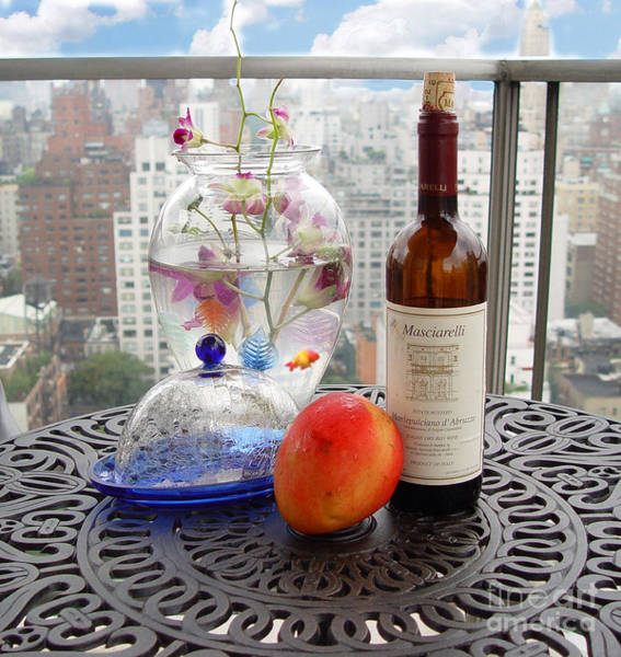 Wall Art - Photograph - Still Life On Balcony With Goldfish by Madeline Ellis