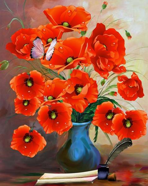 Painting - Still Life Poppies by Joy of Life Art Gallery