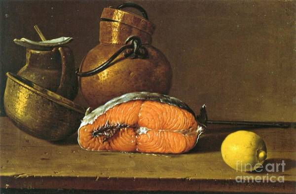 Spanish Restaurant Painting - Still-life  Salmon-vessels- Lemon by Pg Reproductions