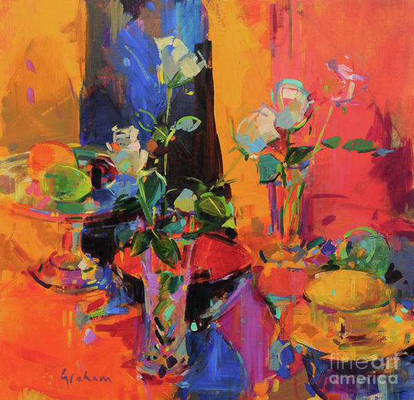 Wall Art - Painting - Still Life Table With Roses And Fruit  by Peter Graham
