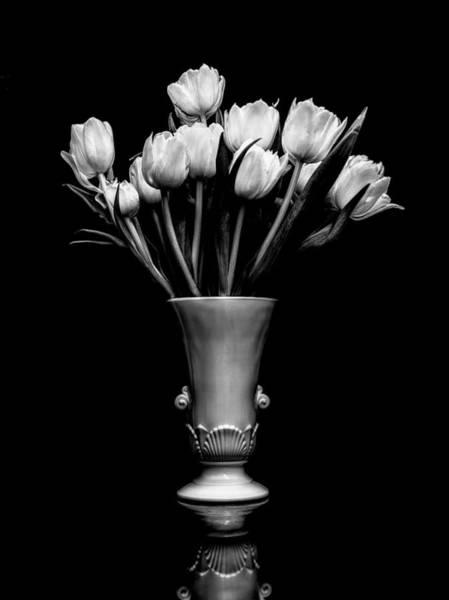 Urn Photograph - Still Life - White Tulips Monochrome by Jon Woodhams
