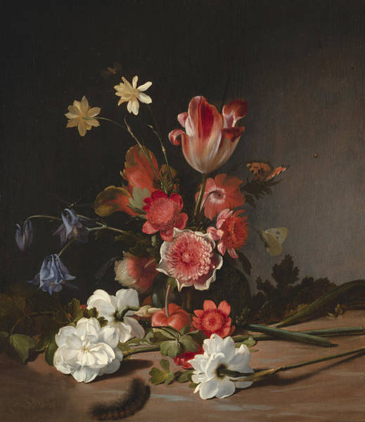 Tulip Bloom Painting - Still Life With A Bouquet In The Making by Dirck de Bray