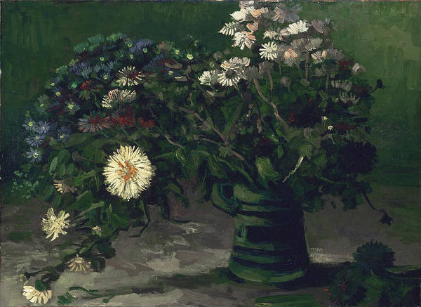Camomile Painting - Still Life With A Bouquet Of Daisies, 1884-85 by Vincent Van Gogh