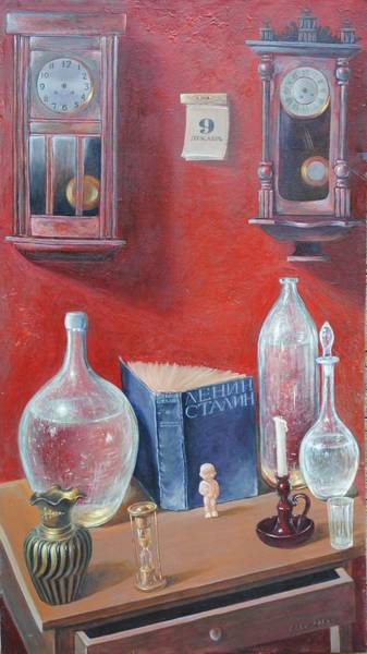 Lenin Painting - Still Life With A Hourglass by Rail Musin