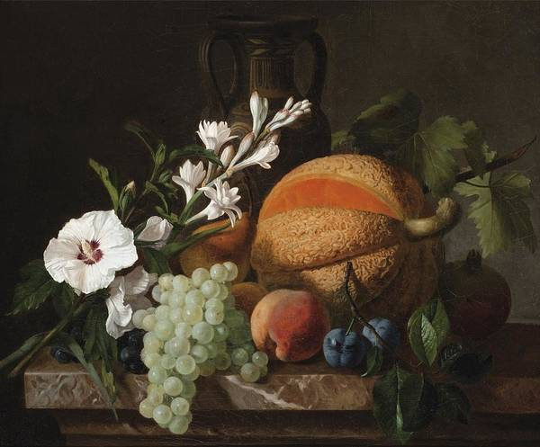 Painting - Still Life With A Melon Grapes And Flowers by Celestial Images