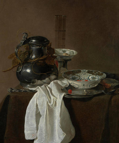 Handicraft Wall Art - Painting - Still Life With A Pewter Flagon And Two Ming Bowls by Jan Jansz
