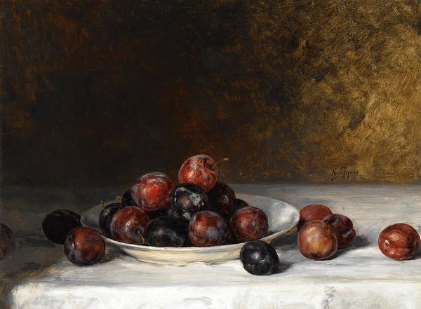 Painting - Still Life With A Plate Of Plums by Nikolaos Gyzis
