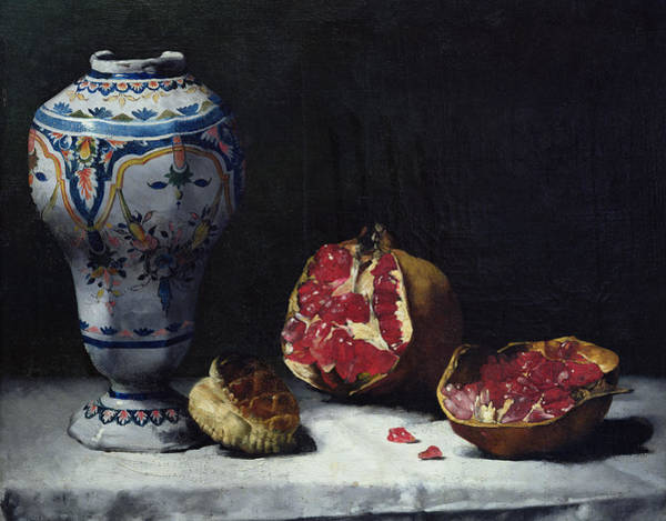 Pastries Painting - Still Life With A Pomegranate by Auguste Theodule Ribot