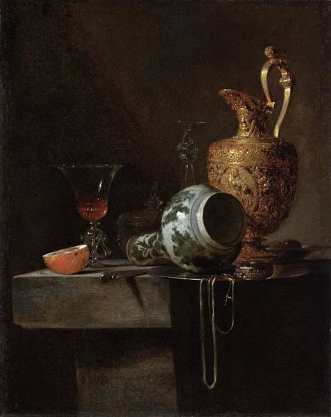 Food Groups Painting - Still Life With A Porcelain Vase, Silver by Willem Kalf