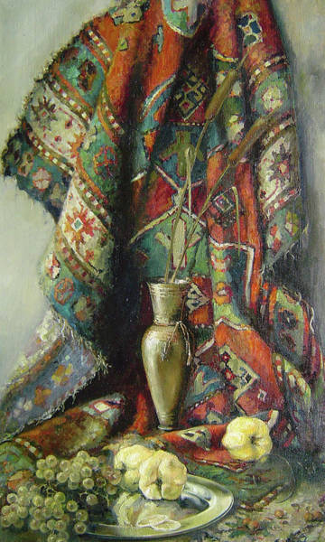 Still-life With An Old Rug Art Print