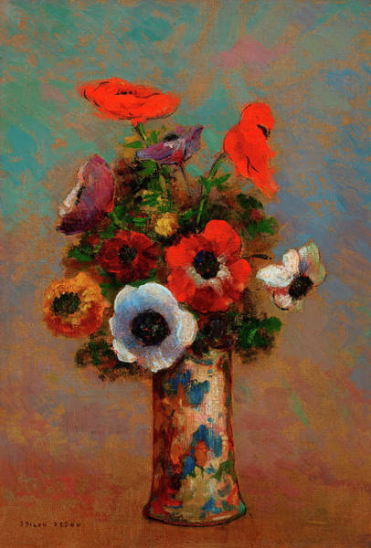 Wall Art - Painting - Still Life With Anemones by Odilon Redon
