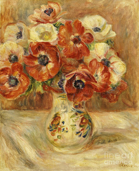 Vase Of Flowers Painting - Still Life With Anemones  by Pierre Auguste Renoir