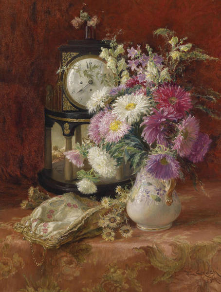 Painting - Still Life With Antique Clock by Emil Czech