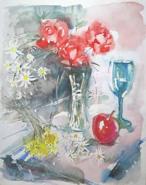 Painting - Still Life With Apple And Flowers by Lorand Sipos