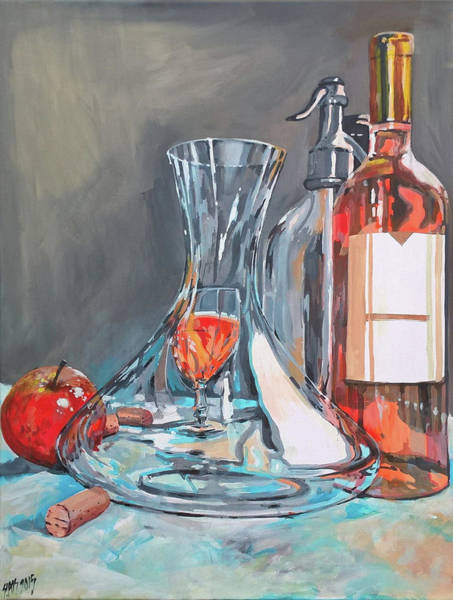 Painting - Still Life With Apple And Rose Wine. by Lorand Sipos