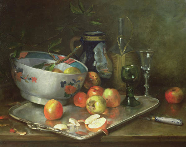 Apple Peel Painting - Still Life With Apples by Eugene Henri Cauchois