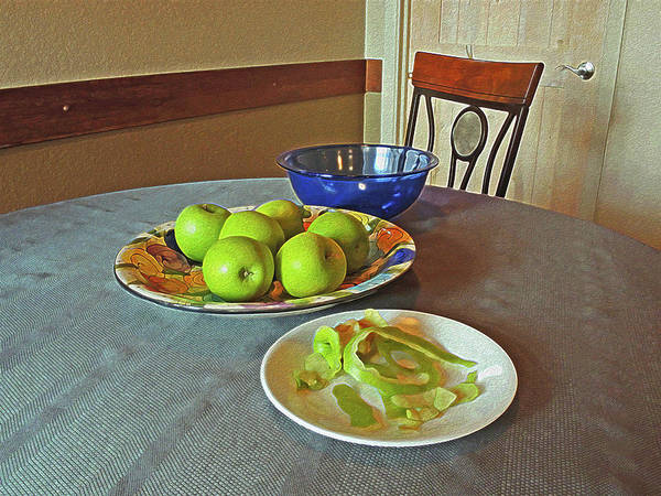 Digital Art - Still Life With Apples Peels And Chair 3 by Lynda Lehmann