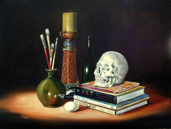 Still Life With Art Books Art Print