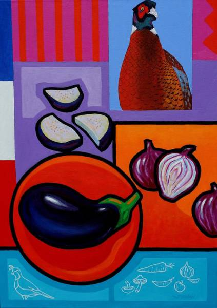Wall Art - Painting - Still Life With Aubergine by John  Nolan