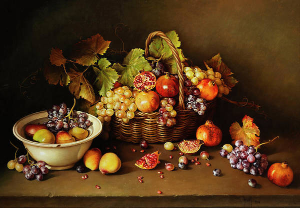 Melon Painting - Still Life With Basket And Pomegranate by Jose Escofet