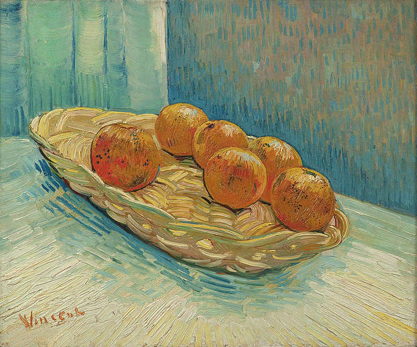 Ingredient Painting - Still Life With Basket And Six Oranges, 1887 by Vincent Van Gogh