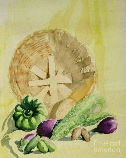 Painting - Still Life With Basket by Asha Sudhaker Shenoy