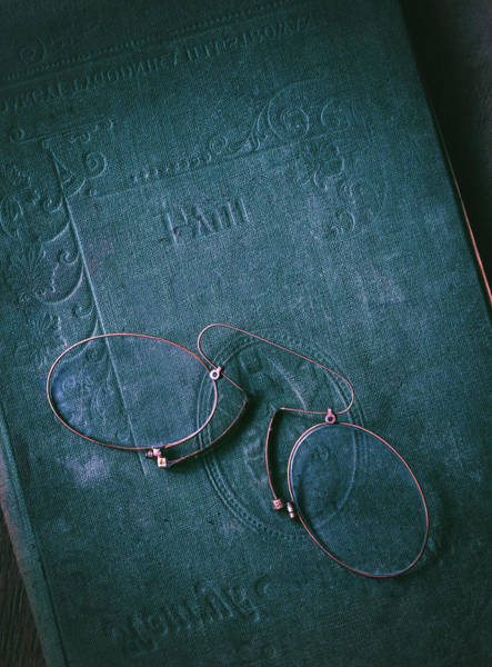 Photograph - Still Life With Blue Book And Old Binocles by Jaroslaw Blaminsky