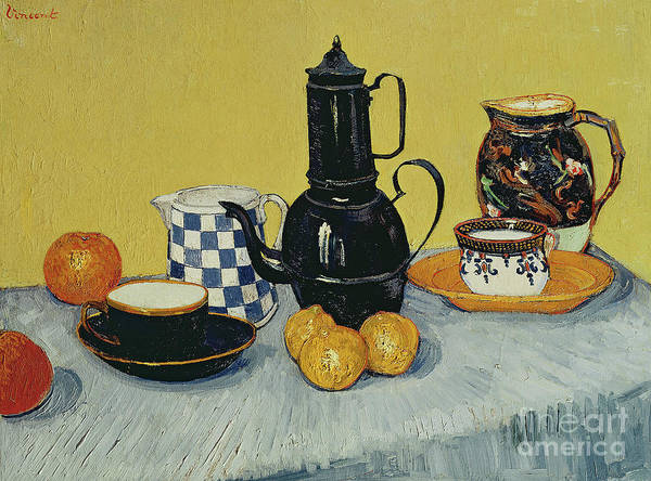 Enamel Wall Art - Painting - Still Life With Blue Enamel Coffeepot, Earthenware And Fruit, 1888 by Vincent Van Gogh