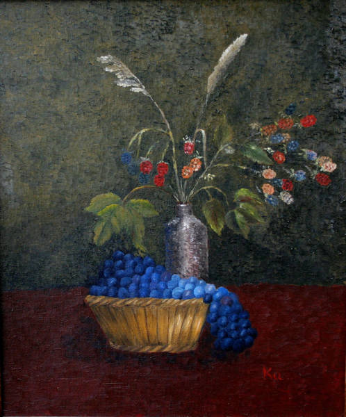 Painting - Still Life With Blue Fruit by Karin Eisermann